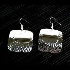 Large Silverplated Double Square Earrings - Artisana