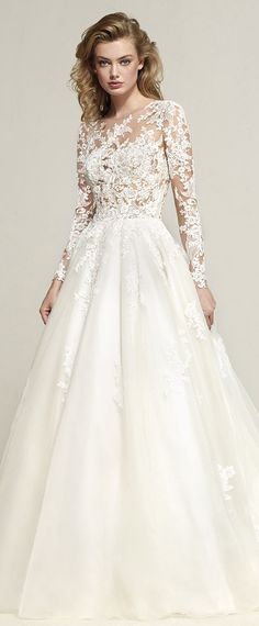 Exquisite Tulle Jewel Neckline See-through Bodice A-line Wedding Dress With Lace Appliques