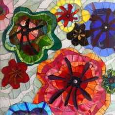 """Flower Power"" glass mosaic by Hercio Dias"