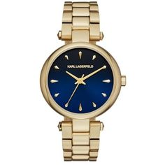 Karl Lagerfeld Watch - Ladies Aurelie Watch Gold/Blue - in gold, blue... ($185) ❤ liked on Polyvore featuring jewelry, watches, gold wristwatch, blue dial watches, gold jewelry, analog watches and water proof watches