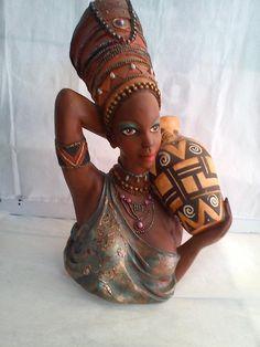 African Wall Art, African Artwork, African Paintings, African American Figurines, African American Dolls, Polymer Clay Painting, Clay Art, Black Girl Art, Black Women Art