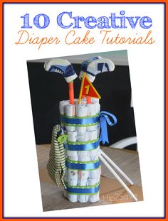 Golf Bag & other Diaper Cake Tutorials (Fun Baby Shower Gift) Best Baby Shower Gifts, Baby Shower Fun, Baby Shower Parties, Fun Baby, Baby Baby, Golf Baby Showers, Bridal Showers, Diaper Cakes Tutorial, Fondant Tutorial