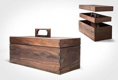 Wooden Toolboxes for your everyday tool selection. Because it looks so much better than the plastic ones you buy at the hardware store. Like this minimal latch free tool box by Aaron Poritz Furniture Wood Tool Box. This tool box is an example of one of those pieces that will be with you forever. #DIY #Tools #Timeless #Wood