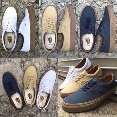 New Arrival   Vans   Era   Gum Sole Pack   White, Khaki or Navy   US Men's Sizes 6-13   $45   Available in-store now & online at MODA3.com shortly. #vans #gumsole #offthewall #era #kotd #skateboarding #MODA3 #streetwear #milwaukee #sneakers #kicks #wafflesole