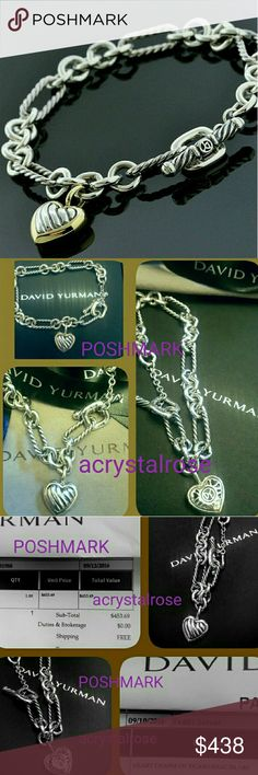 New David Yurman Cable, Heart Charm Bracelet New purchased 09/10/2016. 8 months old. Gift & I already had one.  Comes with:  Large David Yurman Mailing Box All the DY Blk Bubble Packaging Gift Jewelry Box & Ribbon DY Beige Storage Pouch, DY Blk Envelope, DY Polishing Cloth.  Notice Receipt-Date (Ordered 9/10/16, Delivered 9/12/16) It was a Holiday gift, given to me in December,, too late to return, almost 3 mos after purchase.  I wore it twice so I didn't hurt feelings.  🚨Receipt Shows…