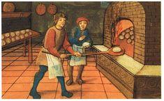 Der mittelalterliche Bäcker mit seinem Lehrling.