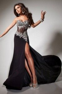 2013 Prom Dresses Mermaid/Trumpet Black Sweetheart Chiffon Rhinestone - Online Shop! : Online Shop!