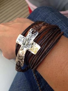 Primitive Silver Cross with Brown Leather Wrap Bracelet.  Item #BRSLC Available at Impulse Gifts 812.481.2880 We ship daily.   https://www.facebook.com/ImpulseJasper