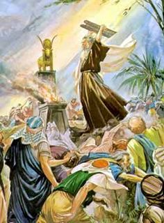 After returning from Mount Sinai, Moses was angry when he saw that the people were worshiping a golden calf instead of God. Bible Photos, Bible Pictures, Jesus Pictures, Christian Artwork, Christian Pictures, Bible Art, Bible Scriptures, Moses Bible Crafts, Exodus Bible