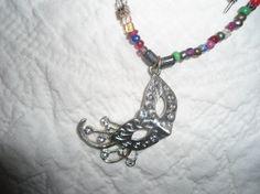 Mardi Gras Necklace Boho Gypsy Hippie Festival lolita rococo mask silver tibetan silver louisiana jewelry black tuesday day of the dead by LandofBridget