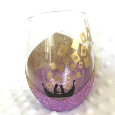 Tangled inspired wine glass