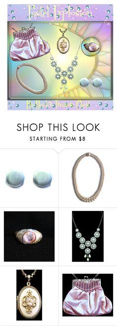 Pastel Explosion by heidi-calamia-galatiVintage Pastel Jewelry & Accessories.   https://www.etsy.com/shop/HeidisTreasureChest?ref=hdr_shop_menu #prombag #prompurse #pinksatinbag #pinksatinpurse #pinkeveningbag #pinkrhinestonering #cocktailring #flowerlocket #locketnecklace #statementnecklace #bibnecklace #pinkpearlnecklace #bluebuttonearrings #1980sbuttonearrings #doublestrandpearlnecklace #TeamLove #PhotoChallenge