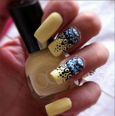 Dreamcatcher Nails by Tracie using  Outdoor Girl Yellow Sun and Essie Bikini So Teeny. Nail It Magazine.