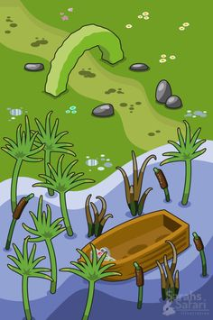 Swampy shore with boat hidden in plants. #isometric #vector #illustration by Sarahs Safari Illustration