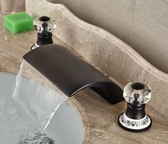 Luxury Oil Rubbed Bronze Waterfall Basin Faucet Dual Round Handle Sink Mixer Deck Mount White And Blue Base Roman Bathroom, Bathroom Spa, Bathroom Sink Faucets, Bathroom Interior, Small Bathroom, Bathroom Ideas, Glass Bathroom, Modern White Bathroom, Waterfall Faucet