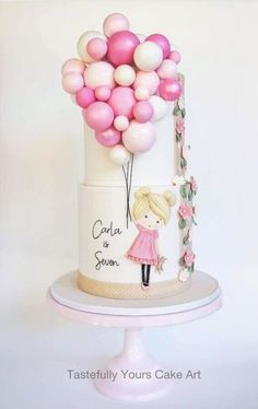Girls Birthday Cake with Balloons - Bespoke original design by Tastefully Yours Cake Art Pretty Cakes, Cute Cakes, Beautiful Cakes, Amazing Cakes, Beautiful Birthday Cakes, Girly Cakes, Fondant Cakes, Cupcake Cakes, 3d Cakes