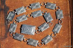 Vintage 1930's Navajo Hand Wrought Sterling Silver Concho Belt Hat Band