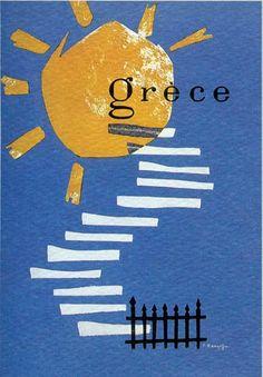 : Vintage travel poster of Greece Illustrations Vintage, Illustrations Posters, Poster Ads, Advertising Poster, Poster Vintage, Vintage Travel Posters, Vintage Advertisements, Vintage Ads, Old Posters