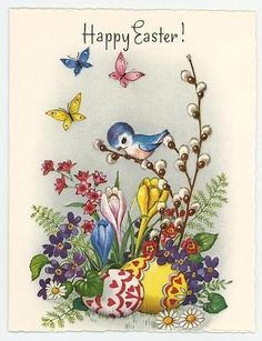 Vintage Bluebird Pussy Willows Tulips Pink Flowers Easter Eggs