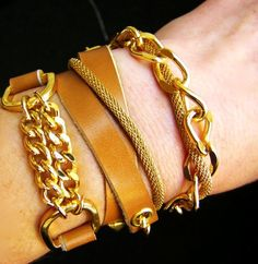 Leather Wrap Bracelet THE HALEY In Camel and Gold
