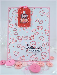 Welcome Baby Girl **Lawn Fawn Little Bundle - create an adorable background for a card by repetitively stamping a combination of tiny stamps.