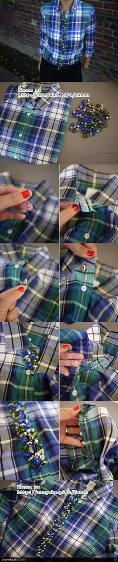 DIY Fashion- some pretty cool ideas for sprucing up clothes! I love the colors of the beads, but to me, the shirt is too busy for the beads. JMHO. I would do the beading on a white shirt - just call me plain jane :)