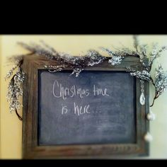 Chalk board spray paint + good will picture frame+ ornaments