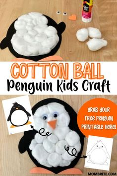 Cotton Ball Penguin Craft [Free Penguin Printable] | Mombrite