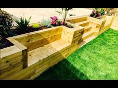 Garden Levelling, Retaining Wall, Stairs, Benches From Railway Sleepers - diy garden landscaping Small Retaining Wall, Sleeper Retaining Wall, Backyard Retaining Walls, Backyard Landscaping, Retaining Wall Gardens, Easy Landscaping Ideas, Retaining Wall Design, Gravel Patio, Decking Ideas
