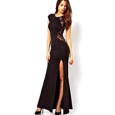 Lace Mulheres Sexy Cut Out alta Dividir Maxi Dress - BRL R$ 42,72