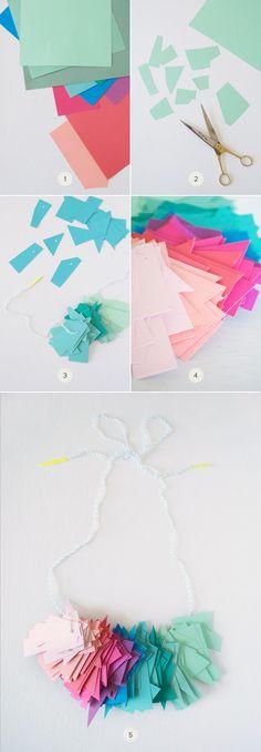 DIY: Colorful Paper-Scrap Necklace