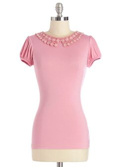 This pink top with a lovely lace collar from Mod Cloth would look cute with a striped skirt.  Precious Cue Top