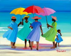"""Salty Sisters"" by contemporary Caribbean artist Shari Erikson. This painting speaks beautifully of the Caribbean. African American Art, African Art, Caribbean Art, Umbrella Art, Art Africain, Naive Art, Beach Art, Amazing Art, Folk Art"
