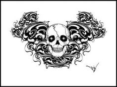 Gothic Skull Filigree tattoo by Quicksilverfury on DeviantArt Tattoo Design Drawings, Cool Drawings, Tattoo Designs, Filigree Tattoo, Airbrush, Tatting, Body Art, Gothic, Skull