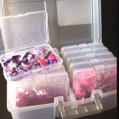 Photo storage kit to organize little girl hair accessories by color