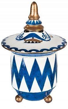 Dózy Art Deco – 2 ks  černá podglaz. zn., Československo, výroba fa Graniton, bělnina, malovaný a zlacený abstraktní dekor, dózičky na třech kulovitých nožkách, víko s výrazným profilovaným úchytem, výška 14cm Art Deco, Jar, Ceramics, Glass, Home Decor, Ceramica, Pottery, Decoration Home, Drinkware