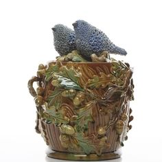 Kate Malone: Pair of Waddesdon Birds on a Lidded Oak Jar