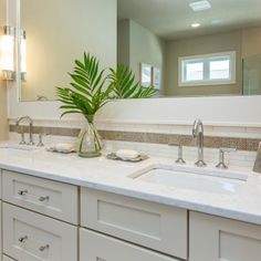 Adding a bit of texture and depth, this spa-inspired master bathroom features Cambria Torquay countertops. Stained Concrete Countertops, Bathroom Countertops, Quartz Countertops, Bathroom Renos, Master Bathroom, Bathroom Ideas, Bath Ideas, Bathroom Remodeling, Bathroom Inspiration
