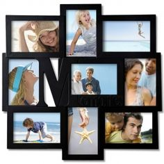 """Adeco Decorative Black Wood """"Memories"""" Wall Hanging Collage Picture Photo Frame, 9 Openings, 4x6"""""""