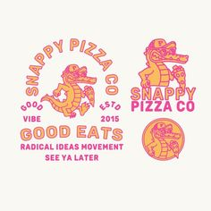 The fun logo design effectively conveys the brand as youthful and energetic. The illustration works well with the type and can also act as a standalone design. Typography Logo, Typography Design, Branding Design, Lettering, Badge Design, Tee Design, Print Design, Pizza Logo, Pizza Branding
