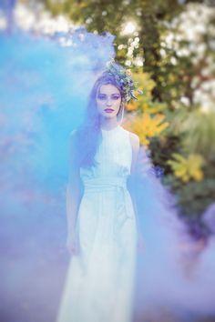 Smoke bomb wedding look. Gorgeous and otherworldly