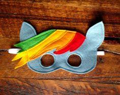 Beautiful Handmade Rainbow Dash Mask. Everyone's favourite My Little Pony! Perfect for inspiring imaginative play. Made from lovely soft merino felt.