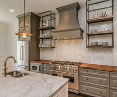 Kitchen :: Marble Backsplash and Counters : Gray, Rustic and Refined Kitchen