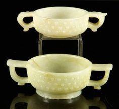 Dinastía Ming tallado jade Copas de dos asas