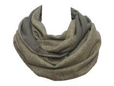 cbb902b0fca1 Polina Couture - Echarpe Snood Tweed et Uni Vert kaki olive, Cachemire Laine  Soie Haute