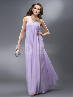 Elegant Strapless Empire Pleats Floor-Length Charming Bridesmaid/Prom  Dress