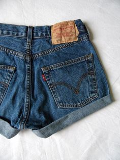 High waisted shorts vintage Levis 501 blue denim by FrayedWithLove