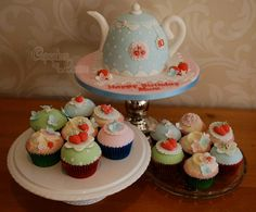 Birthday Cake Photos - Cath Kidston style teapot cake and matching cupcakes for a ladies 60th birthday