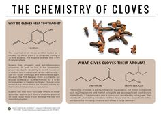 The latest food chemistry infographic looks at the chemistry of cloves: a suggested remedy for toothache… and, apparently, premature ejaculation:http://wp.me/p4aPLT-c7