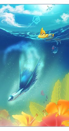 """Because Buizel is all """"Just your average ordinary day on the ocean"""" while the great Latios swims under him."""